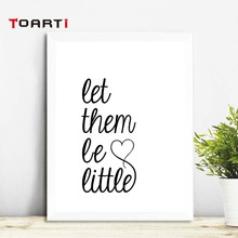 Let Them Be Litter Canvas Painting Black White Minimalist Nordic Posters Wall Art Picture For Nursery Kids Rooms Unframed