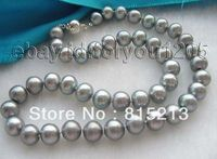 FREE SHIPPING>>> HOT1303 Genuine Natural 11mm Round Gray Pearl Necklace