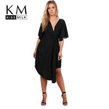Kissmilk мода повседневная плюс Размеры женская одежда одноцветное Цвет asymmetrische v-образным вырезом платье большой Размеры свободные мягкие платье 5XL 6XL 7XL
