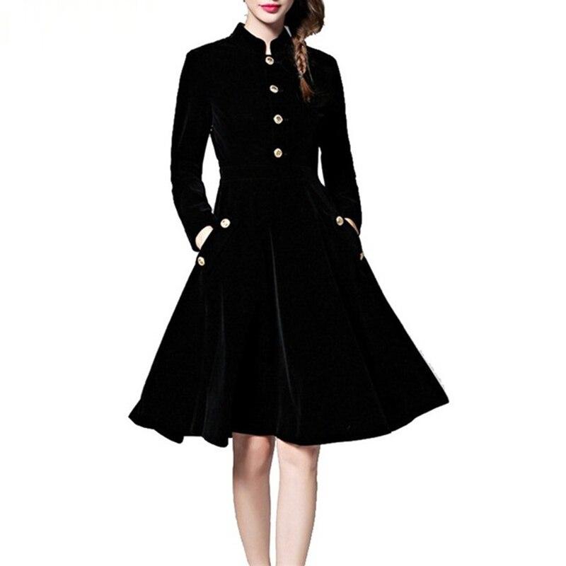 Vintage Black Velvet Dress Women Long Sleeve Big Swing Slim Warm Velvet A-Line Dresses Autumn Winter High Quality Dress FP0246 lace velvet swing dress