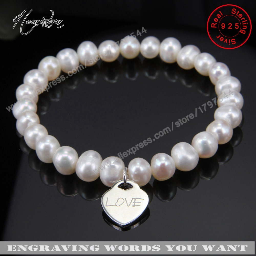 Thomas Freshwater Pearls Bracelet with Heart Charm, Engrave Words You Want, Jewelry Gift  for Women TS B146