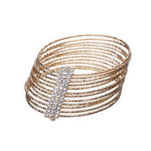 2016 New Fashion Gold MultiLayer Bracelets & Bangles For Women Shining Crystal Arm Jewelry Accessories