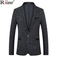 Riinr Новый Мужская мода модные тонкие Бизнес Повседневное костюм пальто Высокое качество мужской одна кнопка пряжки жених свадьба куртки