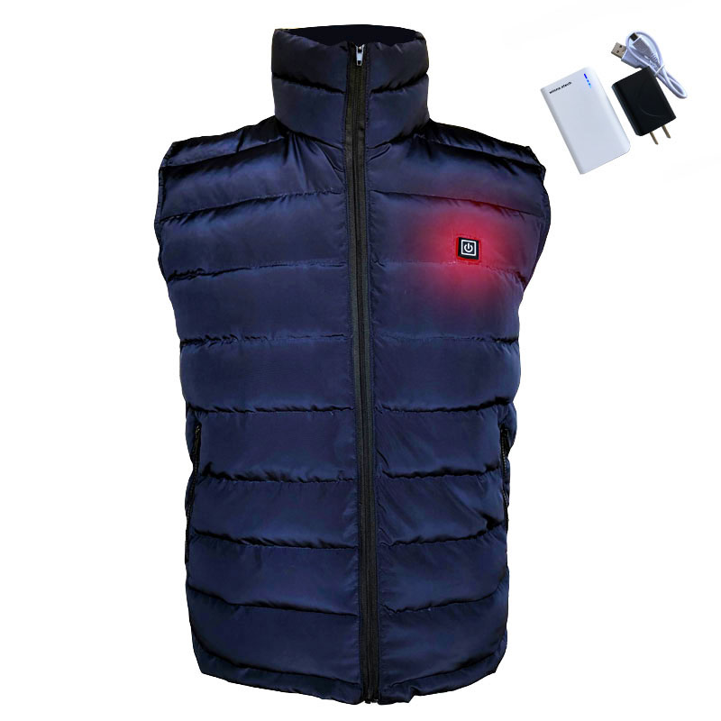 NEW charging heated down vest man skiing vest Winter warm down thick vest camping hiking keep body warm BLACK s-xxxl