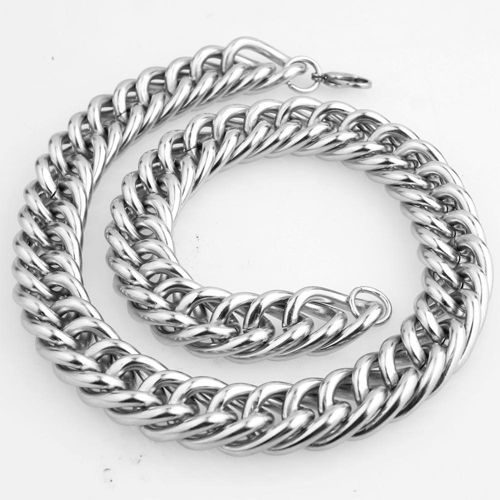 Custom ANY Length 19mm Curb Cuban Box Mens Chain Boys Silver Stainless Steel Necklace or Bracelet Fashion Jewelry in Chain Necklaces from Jewelry Accessories