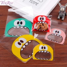 FENGRISE Transparent Monster Cookie Bags Packing Birthday Party Gift Box Packaging Organza Pouch Wedding Bag