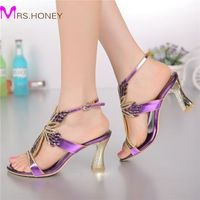 2015 Fashion Champagne Purple Gold Sandals Foral Crystal Prom Party Shoes Summer Bridal Wedding Shoes Ankle
