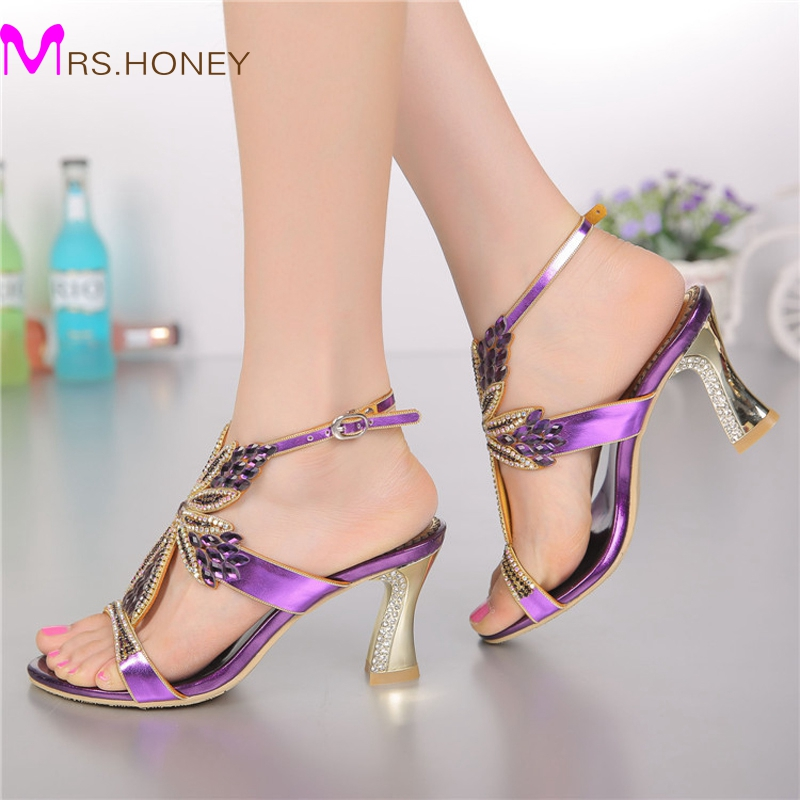 2016 Fashion Champagne Purple Gold Sandals Foral Crystal Prom Party Shoes Summer Bridal Wedding Shoes Ankle Strap Chunky Heels