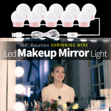 Modern Dressing Room Mirror Light Led 12V Makeup Vanity Table 10 14 pcs Bulbs Kit USB Port Dimmable Bathroom Mirror Wall Lamp giantex white tri folding mirror vanity table stool set modern makeup dressing desk with 4 drawers wood dressers hw54073wh