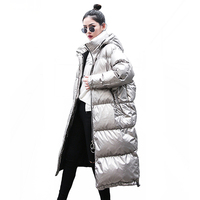Parka Winter Women Jacket2019 Coat Fashion Glossy Overcoat Women's Warm Cotton Padded Jacket Long Female Winter Coats Large size