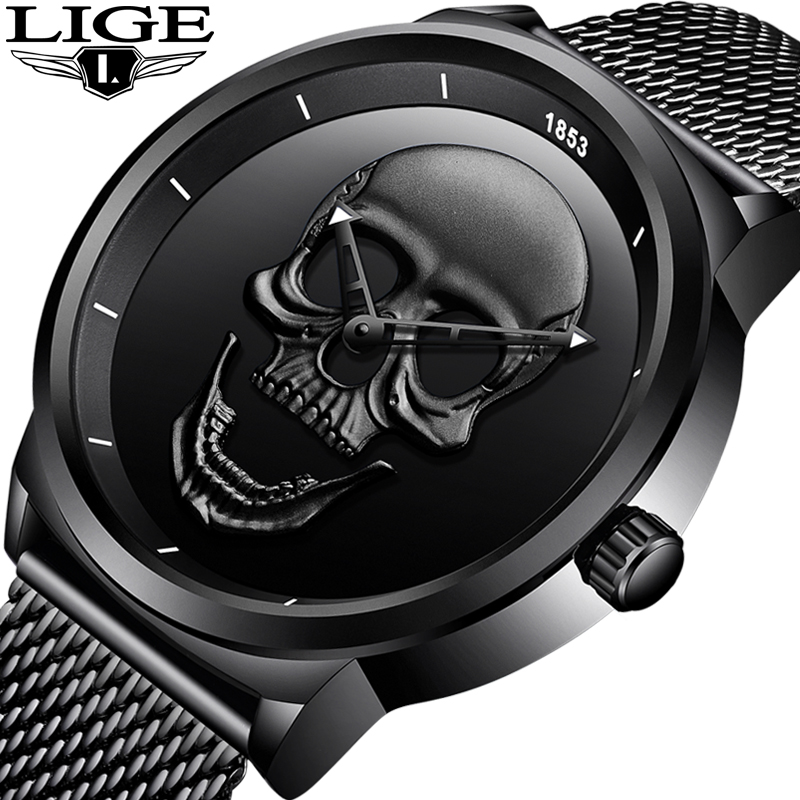 2018 New Men Watch Top Brand Casual Fashion 3D Skull Stainless Steel Waterproof Military Sports Man Wristwatch Relogio Masculino