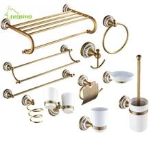 Античный Твердый латунный бронзовый набор для ванной, матовый фарфор, база, аксессуары для ванной комнаты, настенные Товары для ванной комнаты rg6