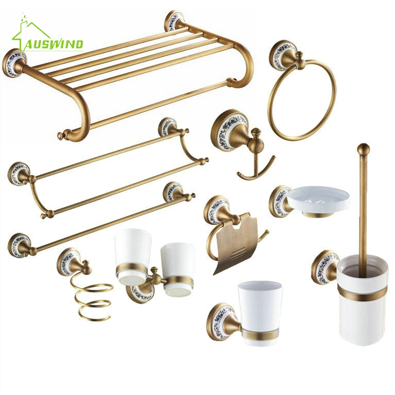 Antique Solid Brass Bronze Bath Hardware Sets Brushed Porcelain Base Bathroom Accessories Wall Mounted Bathroom Products Rg6