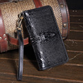 100% Genuine Leather Wallet 3D Alligator Grain Womens Wallets And Purses Brand Vintage Purse portefeuille femme carteras mujer