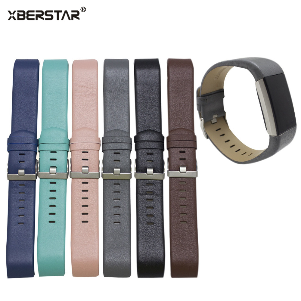 Curled Edge Leather Bracelet Strap Watchband For Fitbit charge 2 Heart Rate & Ac