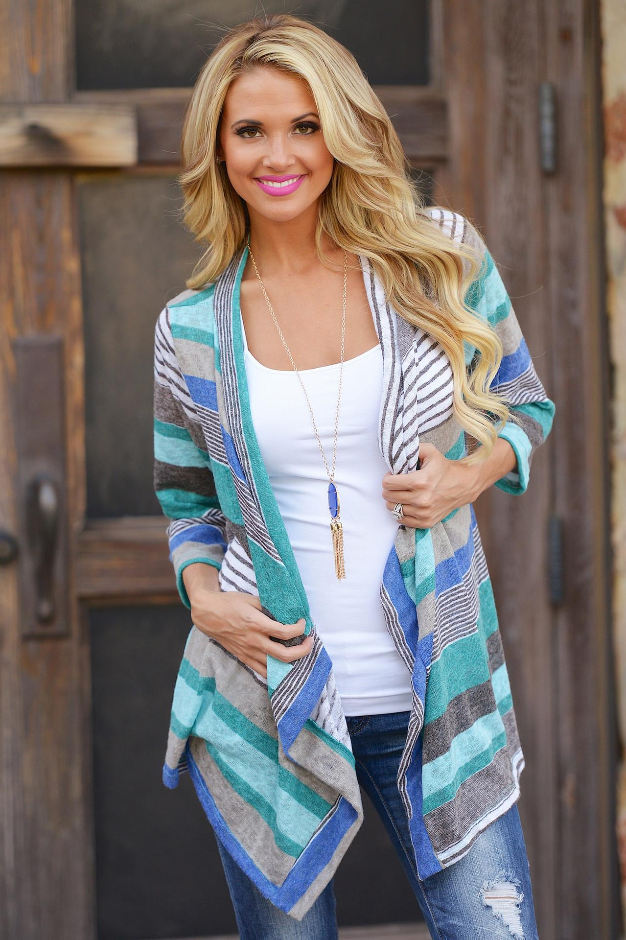 Womens Long Sleeve Cardigan Loose Sweater Outwear Knitted Jacket Coat Tops stripe Cotton Green Red