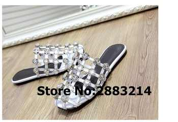 Round Toe Caged Flats Cuts-Out Women Slippers Flats Amelia Rivets Pom pom Studded Sandals Lady Slides Shoes Mujer Slides 43 44 - DISCOUNT ITEM  42 OFF Shoes