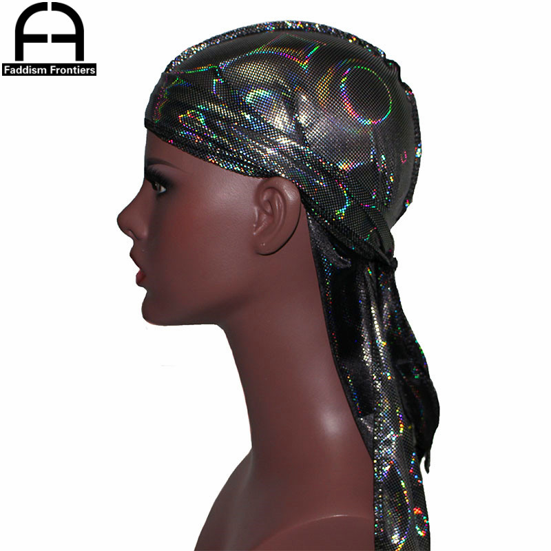 New Men's Colorful Sparkly Silky Durags Turban Bandanas   Headwear   Laser Men Silk DuRag Doo Rag Pirate Hat Hair Accessories Durags