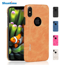 Luxury Retro PU Leather Case for iphone X Back Cover for iPhone ten Vintage Leather Cases Capa Fundas