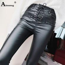 Moda damska wysokiej talii spodnie ze sztucznej skóry sznurowane smukłe spodnie ołówkowe dziewczyny Zipper mankiet Faux Leather wiosna spodnie zimowe