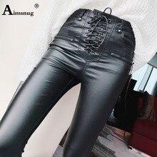 Pantalones de cuero de PU de cintura alta de moda para mujer Pantalones de lápiz ajustados de encaje para niñas con cremallera pantalones