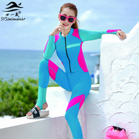 Hot New Zipper Swimsuit Women Long sleeve swimsuit Round collar Sexy lady One Pieces swimwear Girl wetsuit Diving Swimming suit