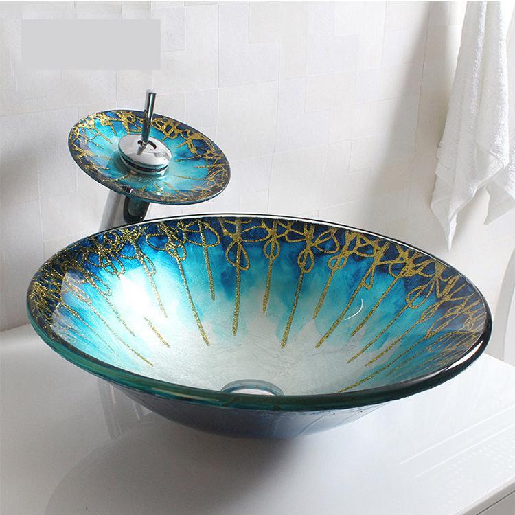 Bathroom Toughened Glass Washbasin Podium Big Round Cap Round Art Wash Basin Glass Sink Bowls Bathroom Tempered Glass Sink Bathroom Sinks Aliexpress