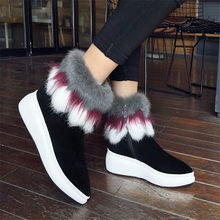 NAYIDUYUN     Women Shoes Genuine Leather Wedges Platform High Heel Riding Boots Pointed Toe FOX Fur Pumps Winter Warm Sneakers цена