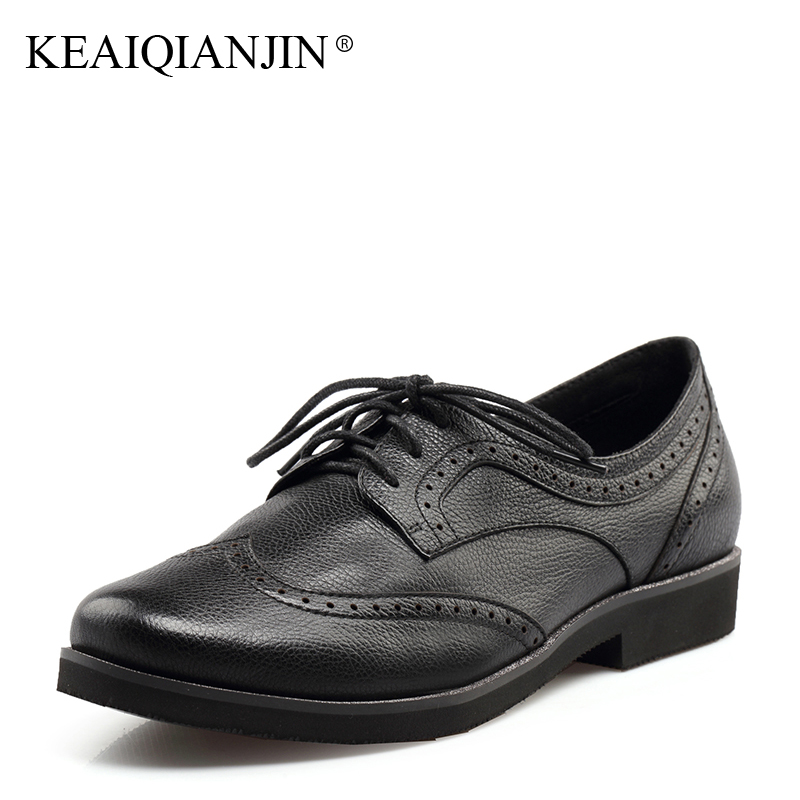KEAIQIANJIN Woman Genuine Leather Brogue Shoes Spring Autumn Black White Flats Lace Up Genuine Leather Loafers Lazy Shoes 2017 keaiqianjin woman sheepskin flats black red silvery plus size 33 41 spring autumn derby shoes lace up genuine leather shoes
