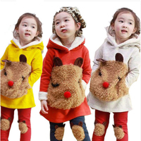 NEW Autumn And Winter Baby Girls Clothing Sets Lamb Cashmere Coat Leggings Kids Clothes Sets Children