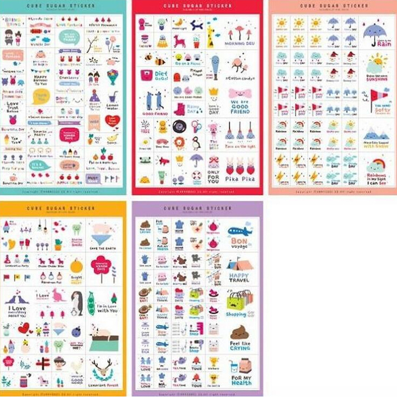 5Sheets Animal Cartoon Paper Sticker Memo Sticker HappyDay Rainbow Snowman Diary Stickers Planner Stickers/Sticky Notes150x100mm