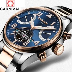 2017 Homens Relógios De Luxo Top Marca CARNAVAL Esporte Homens Tourbillon Automatic Relógio Mecânico Relógio de Ouro Relógio de Pulso Reloj Hombre