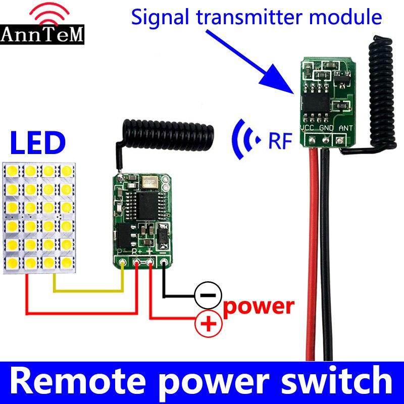 Mini commutateur de commande à distance sans fil, petit émetteur-récepteur rf 433mhz 3.7v 5v 6v 9v 12, micro-contrôleur de circuit d'alimentation de batterie