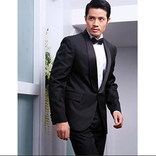 prom men suits groom black tuxedo shawl collar for wedding formal wear custom made suits 2016
