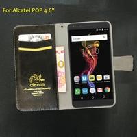 TOP New Alcatel POP 4 6 Case 5 Colors Flip Luxury Leather Case Exclusive Phone Cover