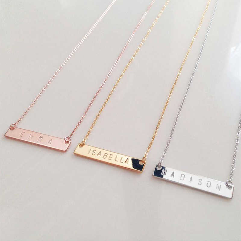 316L Personalized Bar Necklace cold staimless steel customized nameplate jewelry necklace custom couple-Valentine's Day gift
