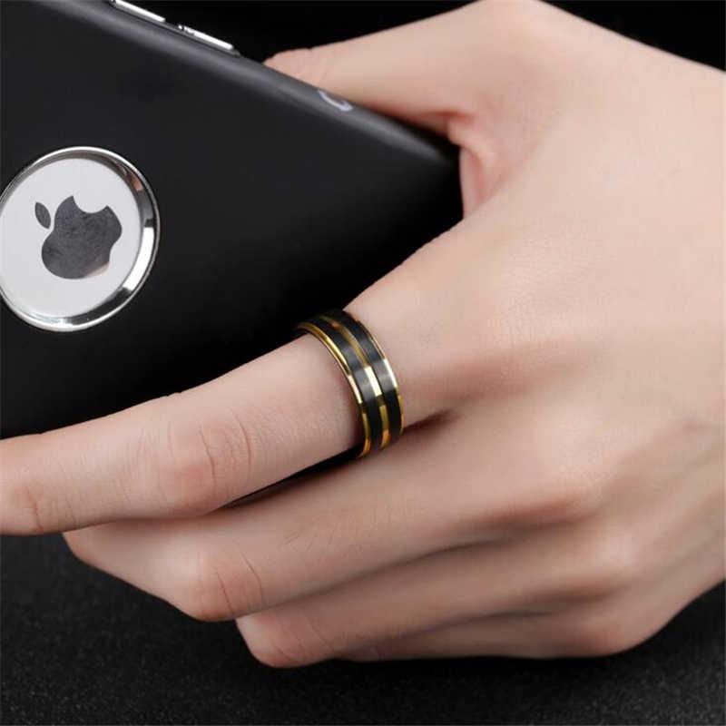 7มิลลิเมตรแหวนไทเทเนียมสีดำสำหรับผู้ชายผู้หญิงแต่งงานวงอินเทรนด์สีรุ้งร่องคู่แหวนเครื่องประดับ