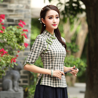 Green Summer Half Sleeve Chinese Style Women Shirts Slim Plaid Double Breasted Blouse Vintage Elegant Cotton Tops S XXXL