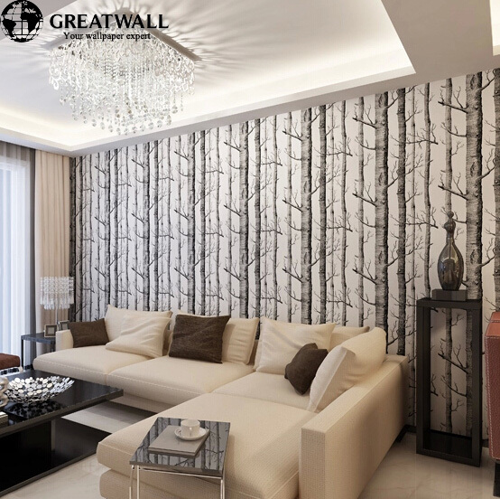 ФОТО Great wall Birch Tree woods wallpaper roll modern wallcovering simple black and white wallpaper for living room
