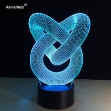 3D светодиодный светильник в виде абстрактной спирали, голограммовая иллюзия, 7 цветов, меняющий декор, лампа, Лучший ночной светильник, подарок для дома