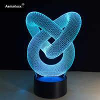 Abstrait cercle spirale Bulbing 3D lumière LED hologramme Illusions 7 couleurs changement décor lampe meilleur veilleuse cadeau pour la maison déco