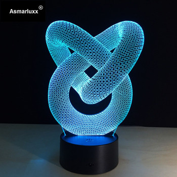Círculo abstracto espiral Bulbing 3D LED luz holograma ilusiones 7 cambio de colores decoración lámpara mejor lámpara de noche para regalo para el hogar Deco