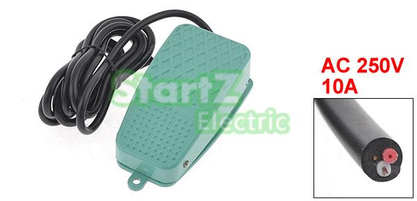 AC 250V 10A SPDT NO NC Nonslip Metal Momentary Power Foot Pedal Switch Green TFS-2