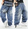 Хип-хоп джинсы мужчины приливные светло-синий без тары брюки свободного покроя скейтборд 30 - 42