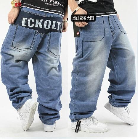 ФОТО Free shipping 2015 Hip hop jeans men tidal  light blue loose pants casual skateboard 30-42