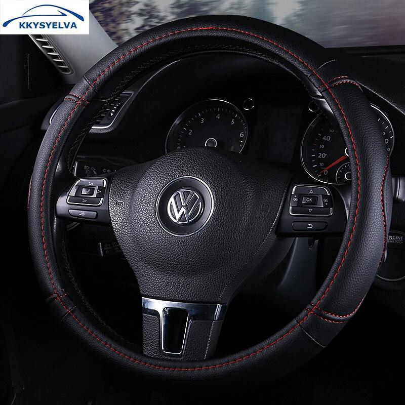 KKYSYELVA negro Sport Car volante cubierta de cuero cubiertas de dirección Auto Universal 38 cm tapacubos de coche Inter Accesorios