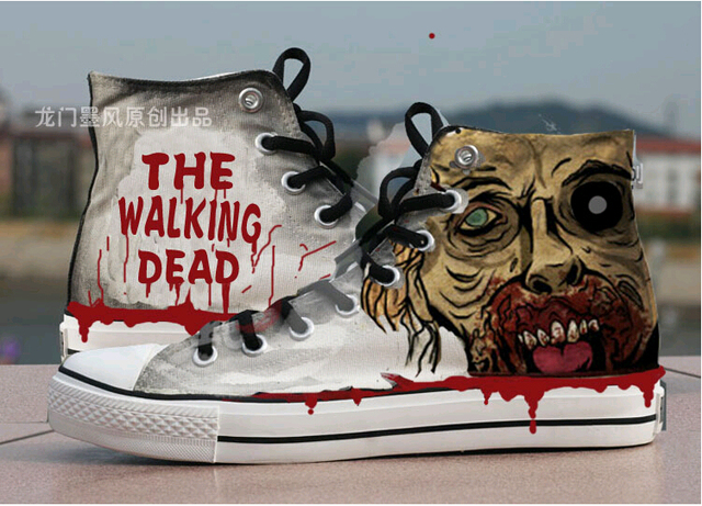 550be9b15c33 the Walking Dead Fashion Canvas Shoes Women Casual High-Top Star Flat Shoes  Printing Shoes Leisure Hand Painted Shoes cosplay
