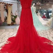 2019 New Red Mermaid Evening Dresses Full Crystal Top V Neck Long Train Bridal  Reception Gowns 199b25ee6f51