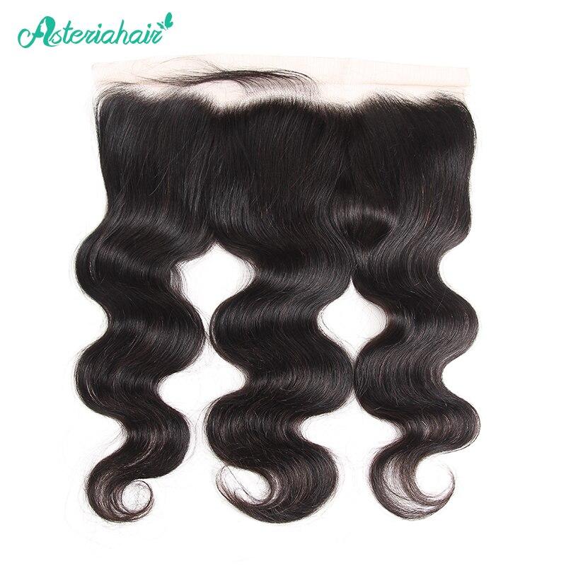 Pelo brasileño de la onda del cuerpo del pelo de Asteria 13X4 cierre frontal de malla Pre arrancado con el pelo del bebé 8-20 pulgadas Natural negro Remy pelo