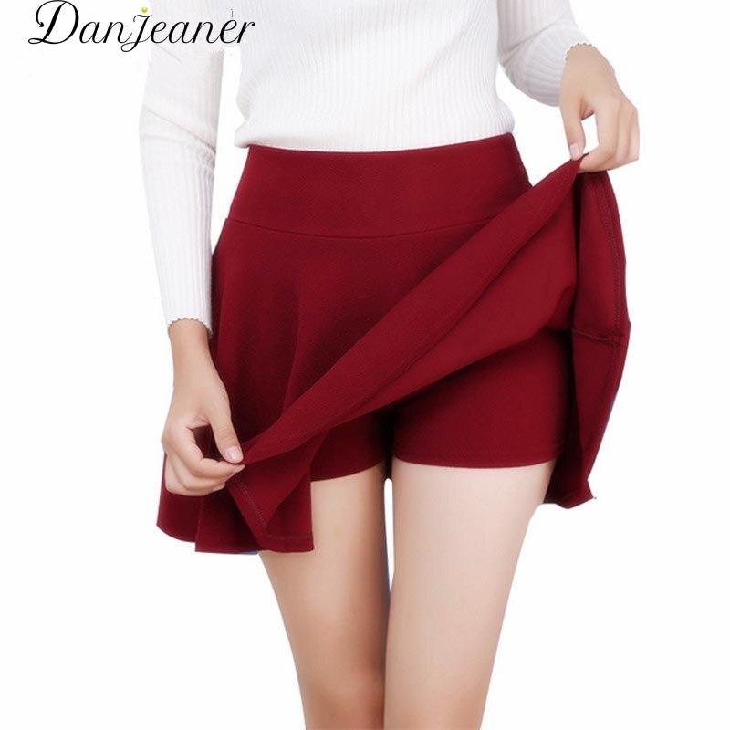 Danjeaner M-5XL 10 Colors Women's High Waist Pleated Skirts Pants 2018 Summer  Super Elastic Mini Skirts Faldas Mujer Saias